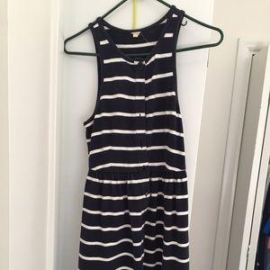 J crew cotton knit blue and white striped dress