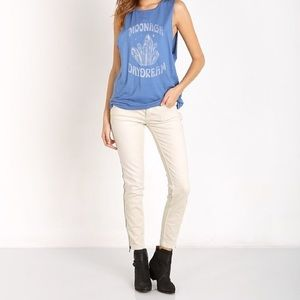 Free People Denim - Free People White Ankle Zipper Skinny Jeans
