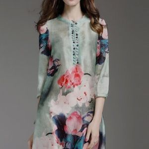 StyleWE Green Floral-print 3/4 sleeve Midi Dress