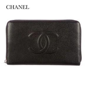 CHANEL Handbags - CHANEL BLACK ZIP AROUND WALLET