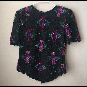Vintage Laurence Kazar sequins blouse 80s 90s