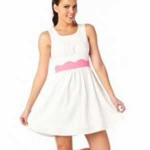 C Luce White Dress with Pink Scalloped Waist