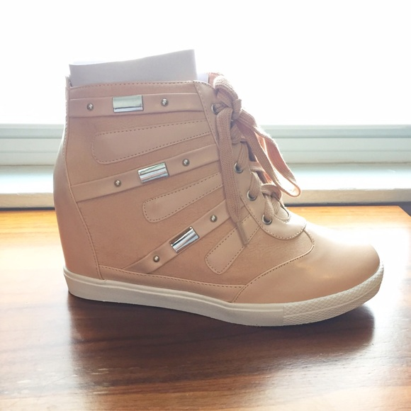 25e204cd5fe New Faux Leather Wedge Sneakers