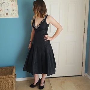JS Collections Dresses & Skirts - Classic black midi formal dress with DEEP V