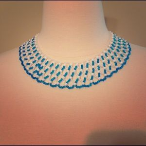 blue and white bib necklace