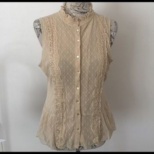 Axcess Tops - Axcess Tan Lace Top XL