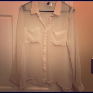 Sheer white blouse, H&M, Size 8