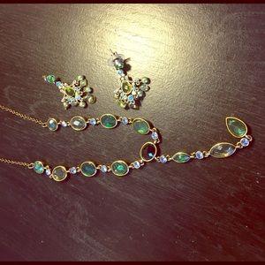 Jewelry - Green& blue in gold jewelry set