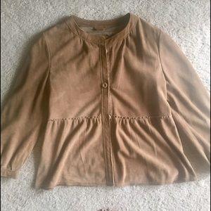Banana Republic Suede Peplum Leather Jacket/Coat