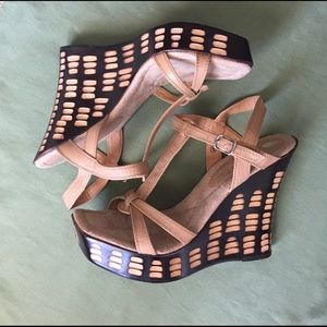 Two Lips Shoes - Two Lips Beige Wedge Sandals, Size 8