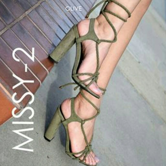 99e6a0e1521 🍃Olive Vegan Suede Rope me in Lace up Heels