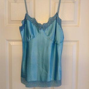 Blue Satin Camisole w/ Lace Trim