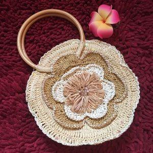 Capelli of New York Handbags - Round Raffia Flower Purse