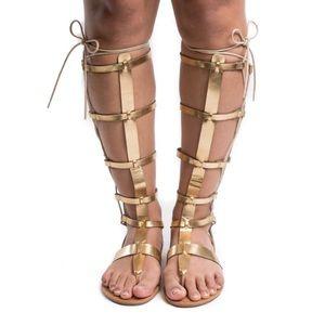 Wild Diva Gold Gladiator Sandal