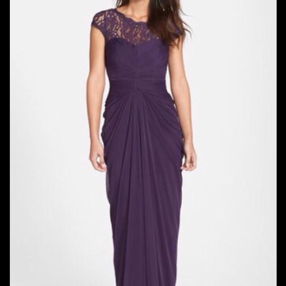 Adrianna Papell Dresses   Lace Yoke Drape Gown   Poshmark