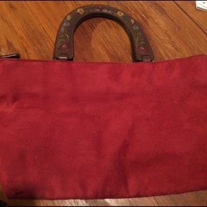 Small vintage red suede bag