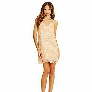 Gianni Bini Blush Pink Sequined Mini Dress.
