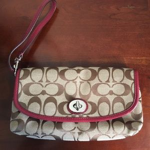 Coach Wristlet with Red Trim