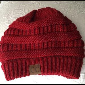 Super adorable red CC beanie size OS