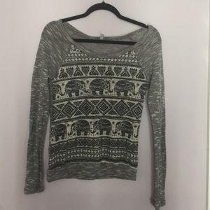 Elephant tribal gray sweater