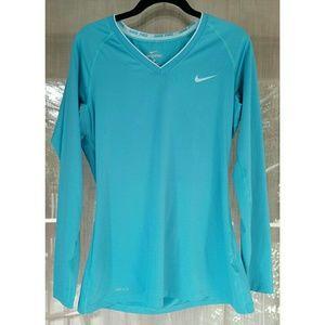 Nike Tops - !! Nike Longsleeve blue v neck pro shirt