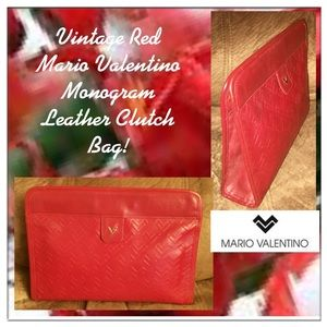Mario Valentino Handbags - VTG Red Valentino Monogram Leather Clutch Bag!