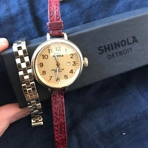 Shinola Accessories - Shinola watch with gold face, red alligator band
