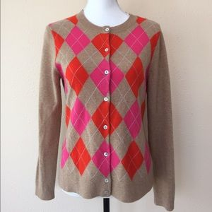 Lands' End Sweaters - Lands End 100% Cashmere Argyle Cardigan Sweater S