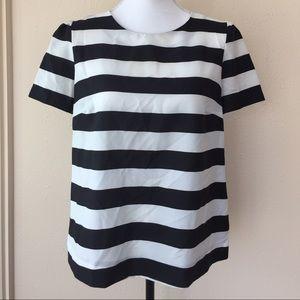 Pleione Black White Stripe Zipper Back Blouse M