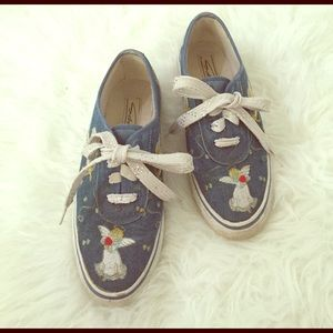 Urban Outfitters Shoes - Vintage Denim Embroidered Sneakers Cherubs& Angels