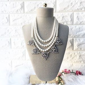 Handmade pearl and crystal necklace