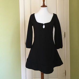 AKA New York Dresses & Skirts - Flirty Black Dress with Wide Scoop Neckline