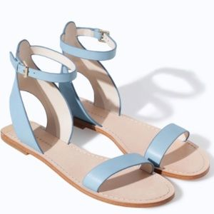 Zara Blue Leather Ankle Strap Sandals
