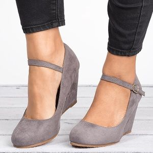 Gray Mary Jane Wedge Pumps-Denise