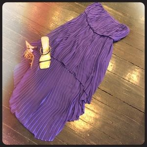 Electric pleated hi low dress