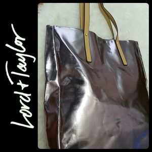 Lord & Taylor Handbags - Lord & Taylor Leather Trim Tote