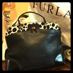 FURLA leather/calf hair bag. Gorgeous!