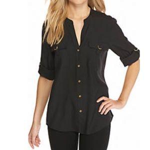 Calvin Klein button down v blouse