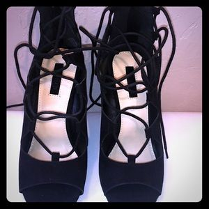 NEW Black Laced Wedges Size 6.5