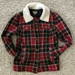Rubbish Jackets & Blazers - Nordstrom plaid wool jacket w faux Sherpa collar