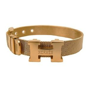 24th & Ocean Jewelry - H Logo mesh Gold Bracelet