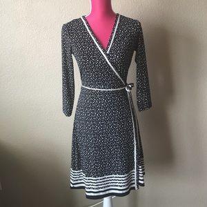 Max Studio Polka-dot Long Sleeve Wrap Dress