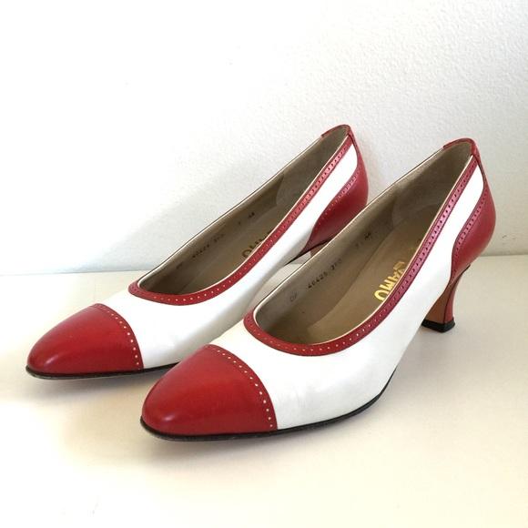 feab5529298 Ferragamo Shoes - Vintage Ferragamo Red   White Spectator Heels
