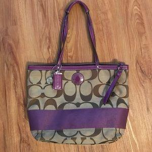 Coach Handbags - Coach Signature Stripe Purple/Brown Tote