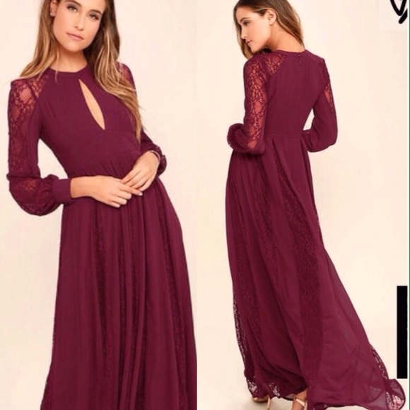 04cb6e04e9 Lulu's Dresses | Burgundy Lace Long Sleeve Maxi Dress | Poshmark