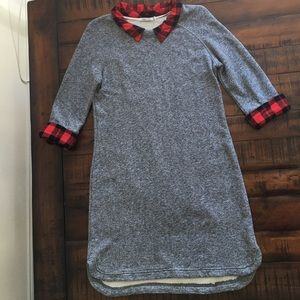 Kenneth Cole Sweatshirt Dress w/ Red Plaid Collar