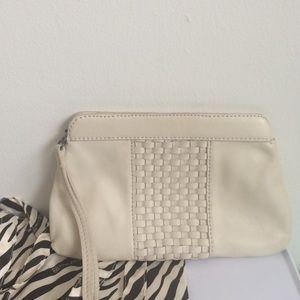 Linea Pelle leather clutch w/ woven detail cream