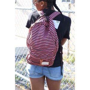 Pink & Black Striped Backpack