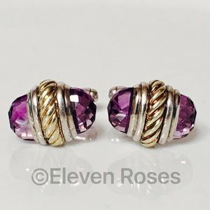 David Yurman Other - David Yurman 14k Gold Sterling Amethyst Cufflinks
