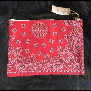 """RED BANDANA ZIP POUCH. GREAT FOR LAPTOPS! 16""""x 11"""""""